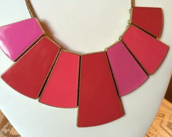 Vintage Enamel Modernistic Necklace - Various Hot Reds and Pinks - Quality!