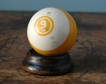 Plastic Billiard Ball 2 1/4 No. 9 Yellow White Stripe Striped Paperweight Decor Bakelite Retro Pool Display Man Cave Number Old