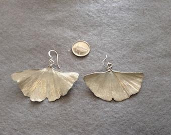 Ginkgo Earrings, Sterling Silver, Dangle Earrings, Nature Earrings, Silver Leaf Earrings, Herbal Earrings, Ginkgo Silver, Large Ginkgo