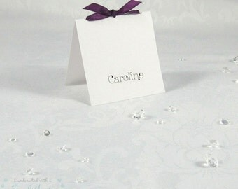 Tie the Knot Handmade Wedding Table Place Card, Name Card Choice Ribbon Colours