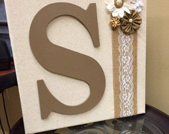 12x12 Rustic Burlap and Lace Initial Wall Decor