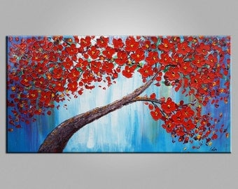 XL Oil Painting Canvas Art Framed Painting Original Art Abstract Art Impasto Texture Palette Knife Art Canvas Painting Flower Tree Painting