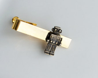 Robot Tie Clip Men's Tie Bar Tie Clip Geekery Nerd Techie Tie Clip Steampunk Tie Bar Robot Antique Brass Men's Gifts Gifts for Him