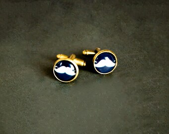 Men's Cufflinks Mustache Cufflinks Statement Cufflinks Antique Brass Men's Gifts Novelty Cufflinks Marine