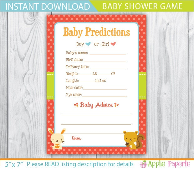 woodland baby shower games baby shower prediction cards