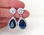 Blue Wedding Earrings Blue Bridal Earrings Wedding Jewelry Sapphire Earrings Crystal Bridal Earrings Something Blue Earrings Bridesmaid Gift
