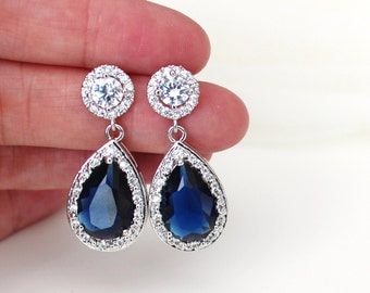 Blue Wedding Bridal Earrings Blue Wedding Jewelry Sapphire Earrings Crystal Bridal Earrings Something Blue Bridesmaid Gift