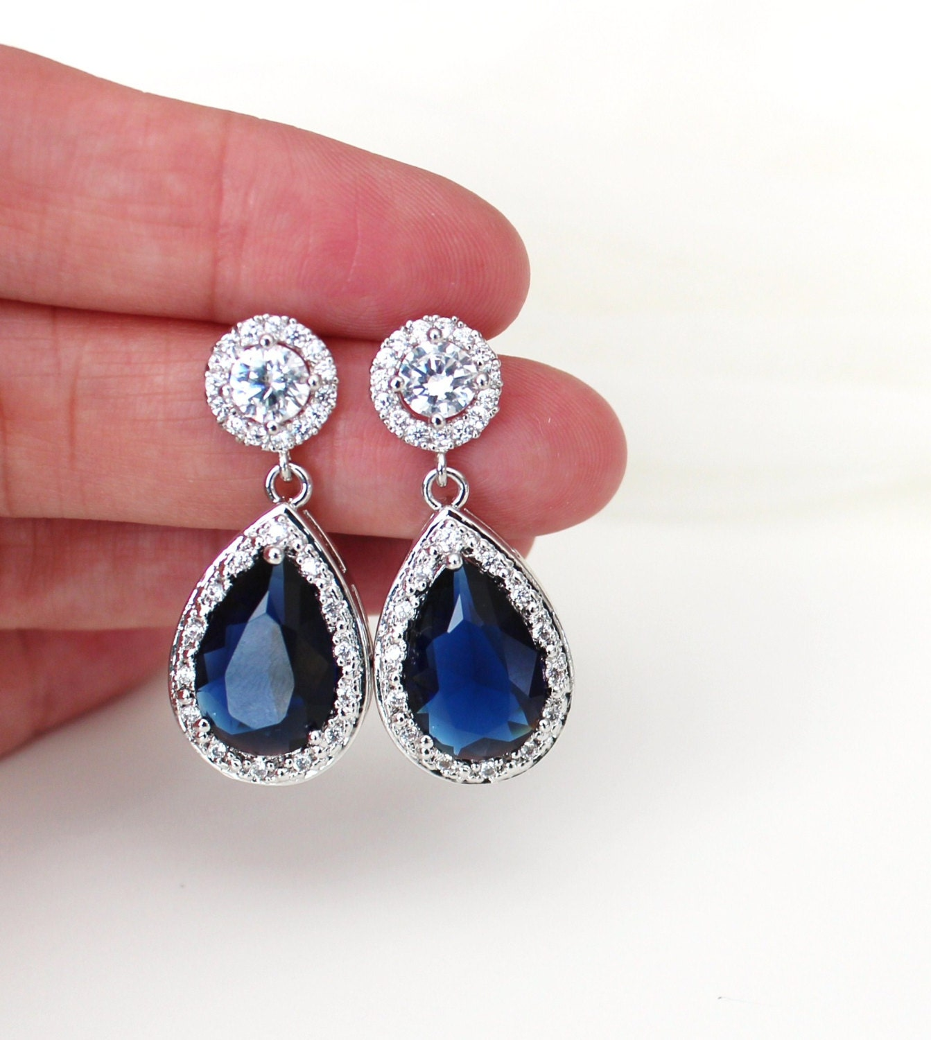 Blue Wedding Earrings Bridal Earrings Blue Wedding Jewelry