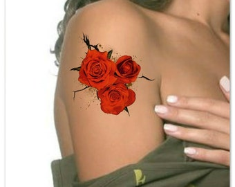 Temporary Tattoo Flower Roses Waterproof Ultra Thin Realistic Fake Tattoos