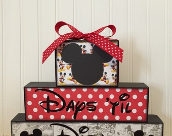 Disney vacation countdown chalkboard wood blocks