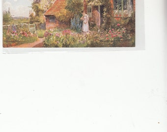 Tuck Oilette Picturesque Counties Great Britain Thatch Cottage Growing Garden Postcard
