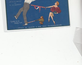 Vivid French Art Deco Advertising Postcard For Parisiana Suspenders Postcard Must See