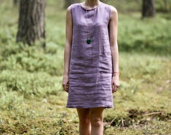 Linen dress with two pockets. Washed soft linen tunica dress.