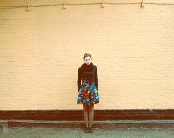 High Waist Full A-Line Skirt