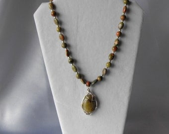 Unakite, Jasper and Sterling Silver Necklace - Gemstone Jewelry   (BD-797)