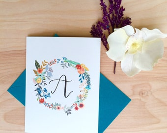 Floral Hand Lettered Calligraphy Stationery / Custom Initial / Custom Stationery / FOLDED NOTECARD