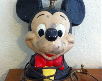 Rare Vintage Mickey Mouse Lamp, Mickey Mouse Table Lamp, Mickey Mouse Lamp  Post,