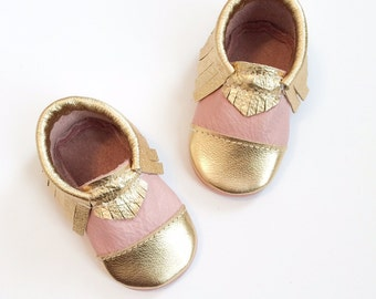 Baby Moccasins, Pink & Gold Toddler Shoes Gold Toe