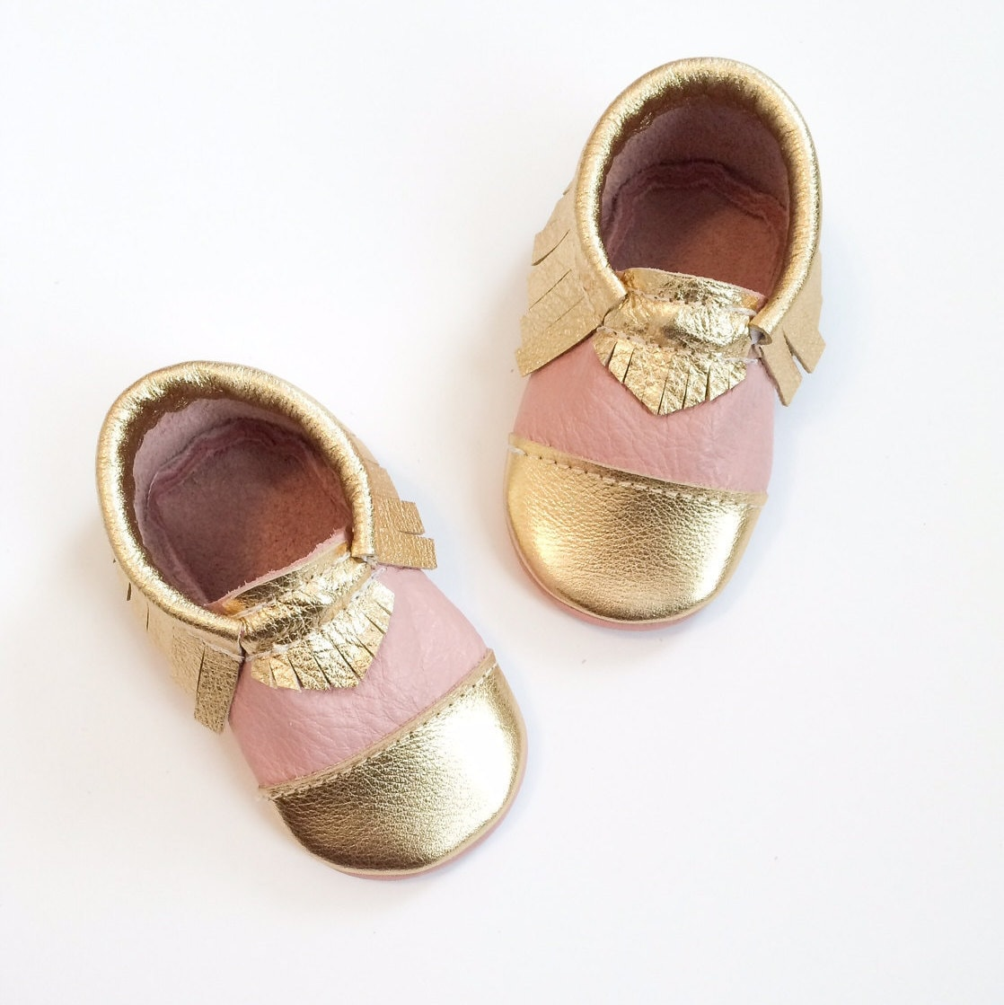 Baby Moccasins Pink & Gold Toddler Shoes Gold Toe