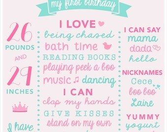 1st Birthday Sign - Pink and Green Birthday Board - First Birthday Poster - Pink Girl Birthday - Pink and Mint Birthday Decoration