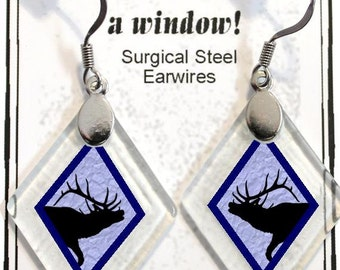 "Earrings ""Elk Silhouette (assorted colors)"" rescued, repurposed window glass~Lightening landfills one tiny glass diamond at a time!"