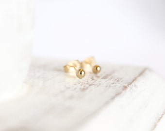 Simple Gold Studs - Gold Fill or 14k Gold - Ball Posts - Baby Earrings - Tiny Studs - Small Round Posts - Gold Earrings - Simple Earrings