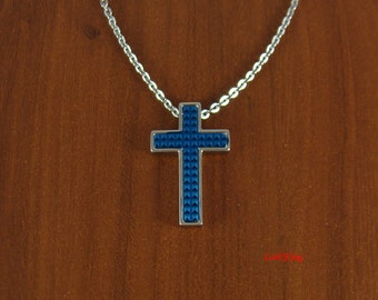 Stainless steel cross necklace, blue cross, cross jewelry, cross gifts, unique gift, mens cross necklace, women cross necklace, cross, NE523