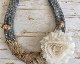 ON SALE Shabby Chic Horseshoe, Burlap and Flower, Wedding Gift, Housewarming Gift, Glitter Horseshoe, Western Wall Hanging, Good Luck Horses