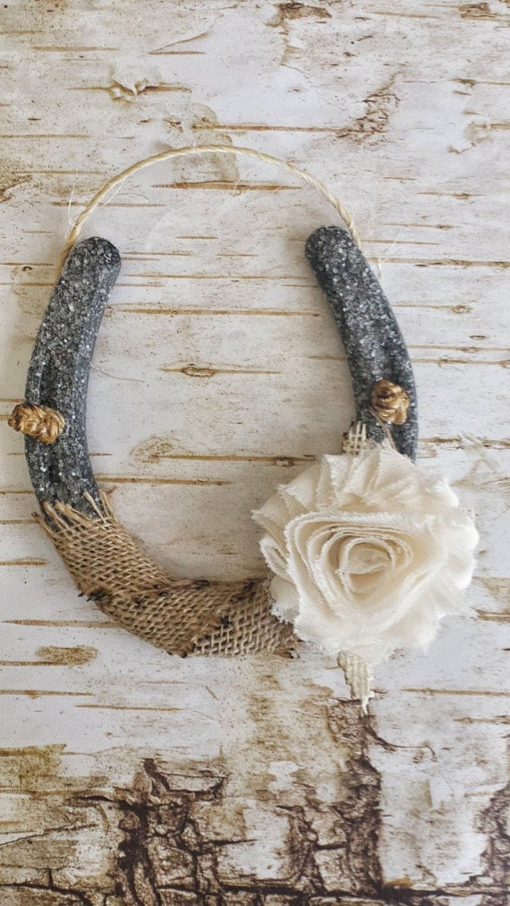 Shabby Chic Horseshoe Burlap And Flower Wedding Gift