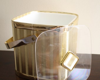 Glam Gold Culver Ice Bucket Hollywood Regency Mid Century Modern Vintage