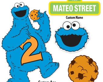Custom Printable Sesame Street Cookie Monster Centerpiece Displays / Cookie Monster Birthday / Cake Topper
