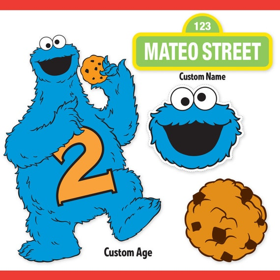 Custom Printable Sesame Street Cookie Monster Centerpiece