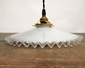 French Vintage White Opaline Glass Ceiling Light - 30's