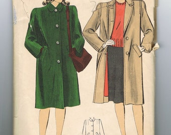 1940s Coat Pattern, Knee Length, Button Front, Pockets, Winter Coat Pattern, Full Length Coat, Hollywood 1195, Size 16, Bust 34 Inches
