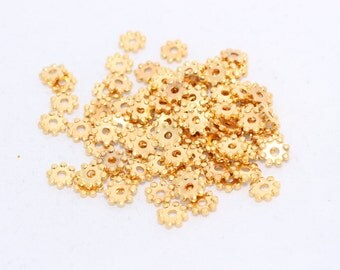 50 Pcs 24K Gold Plated Spacer Beads- tiny Snowflake beads - Spacers- Brass spacer beads BRT38