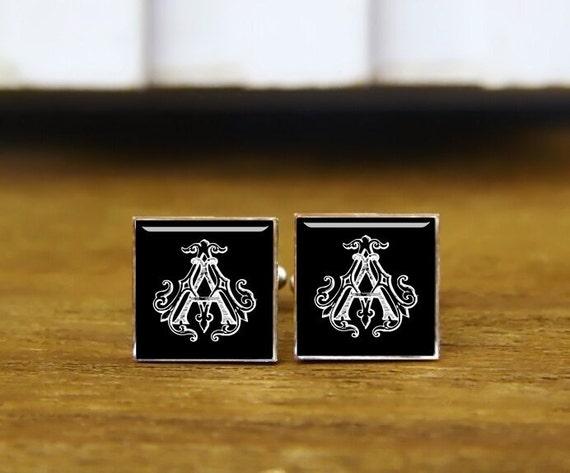 monogram cuff links, customize initials cufflinks, custom wedding cufflinks, round jewelry, square cufflinks, tie clip or a matching set