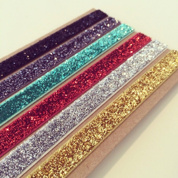 Holiday Glitter Headband Set | Metallic Glitter Headbands for Baby Toddlers Girls Adults, Christmas Headbands, Red Green Silver Gold Sparkle