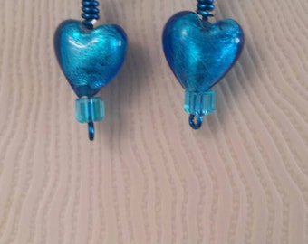 Beautiful blue foil heart earrings
