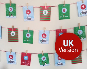 Acts of Kindness printable Advent Calendar UK Version - 24 Good Deed cards in mini envelopes. Instant download, Christmas Village design
