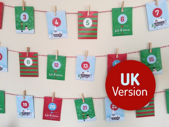 Acts of Kindness printable Advent Calendar UK Version - 24 Good Deed cards in mini envelopes. Instant download, Christmas Village design
