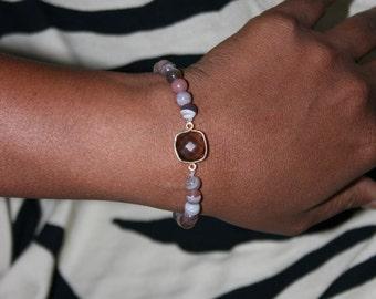 Smoky Quartz & Botswana Agate Bracelet