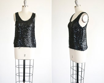 Ebony tank • vintage 1980s sequin tank top • black sequin 80s blouse