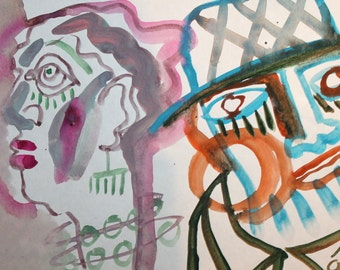 Abstract expressionist  watercolor drawing faces