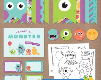 Monster Bash Party Pack // DIY Printable Birthday Party Kit // Bunting Banner, Cupcake Toppers, Coloring Pages, and more // Instant Download