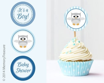 Owl Baby Shower Cupcake Toppers Printable Baby Shower Cup Cake Toppers Cupcake Decorations DIY Boy Baby Shower It's a Boy Blue Owl Theme