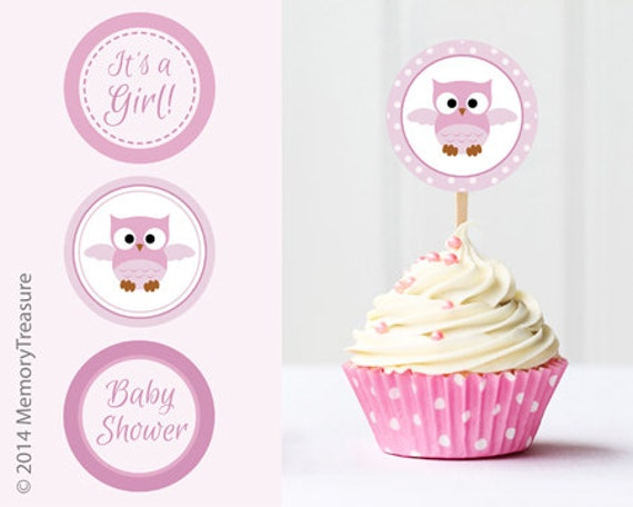 Owl baby shower cupcake toppers printable baby shower cup cake for Baby shower cupcake picks decoration