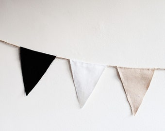 Linen Pennant in Black, White, and Tan