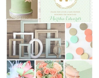 Mint & Coral Baby Shower Theme -- Party Inspiration Board, Ebook, PDF