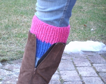 Two Color Boot Cuffs- Reversible Boot Cuffs- Chunky Boot Cuffs- Faux Leg Warmers- Boot Toppers Women- Knit Boot Cuffs- Knit Boot Socks