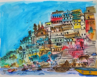 India Painting by J.Travis Duncan - Ganges Painting - Asia Painting - Original Painting - Mixed Media - Watercolor - Pen & Ink - panoplei